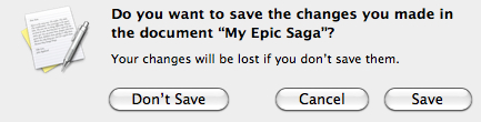 "Screenshot of a dialogue box with the question ""do you want to save your changes…"""